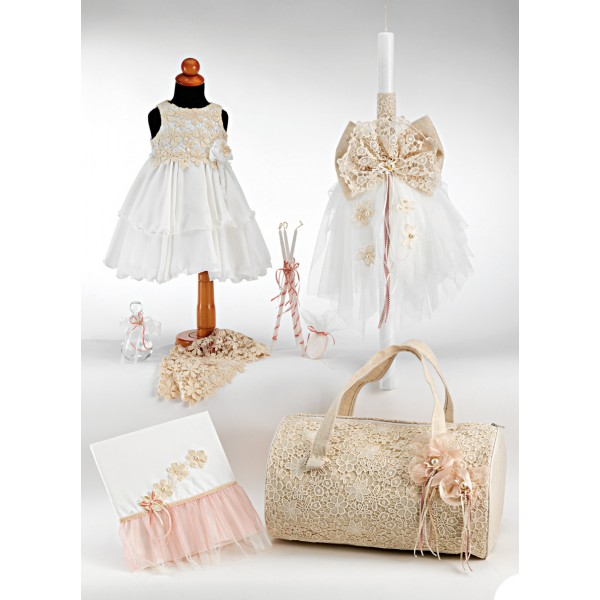 Complete baptism set BABY GIRL Orthodox church christening LACE