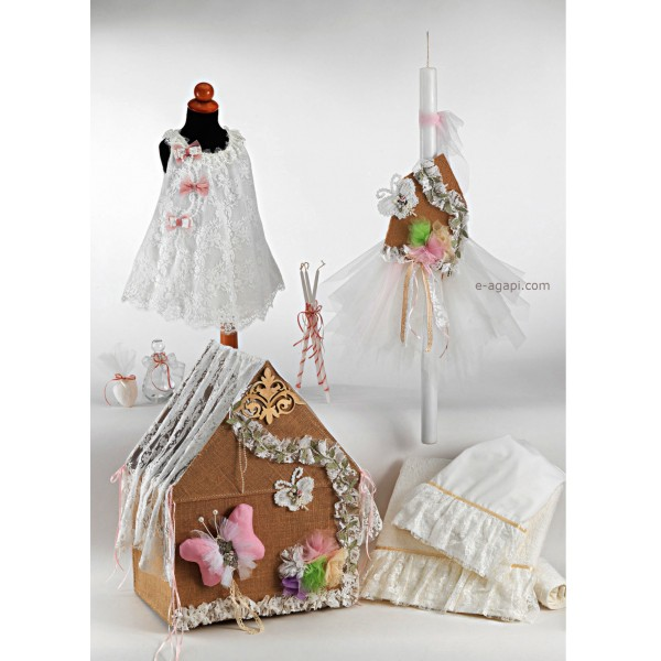 Complete baptism set BABY GIRL Orthodox church christening BUTTERFLY HOUSE