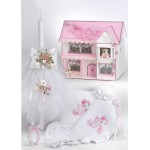 Complete baptism set BABY GIRL Orthodox church christening FLORAL HOUSE