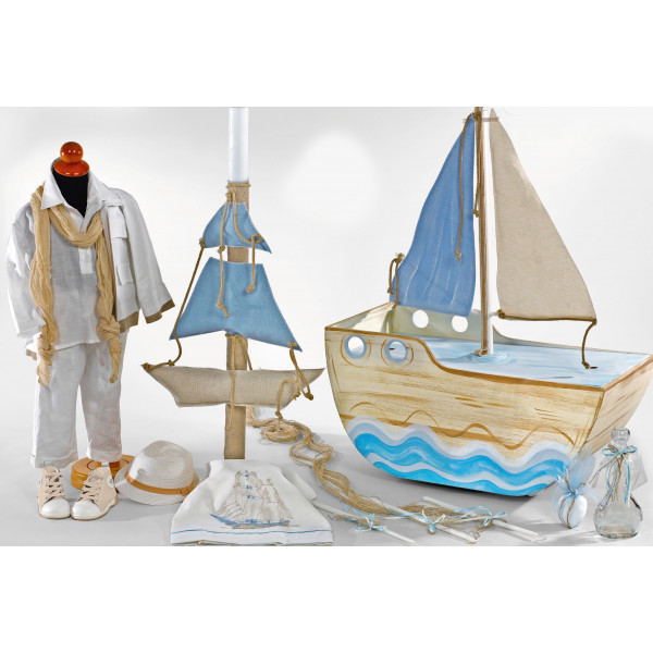 Complete baptism BOAT set BABY BOY Orthodox church christening