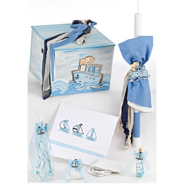 Complete baptism set BABY BOY Orthodox church christening BOAT MARINE