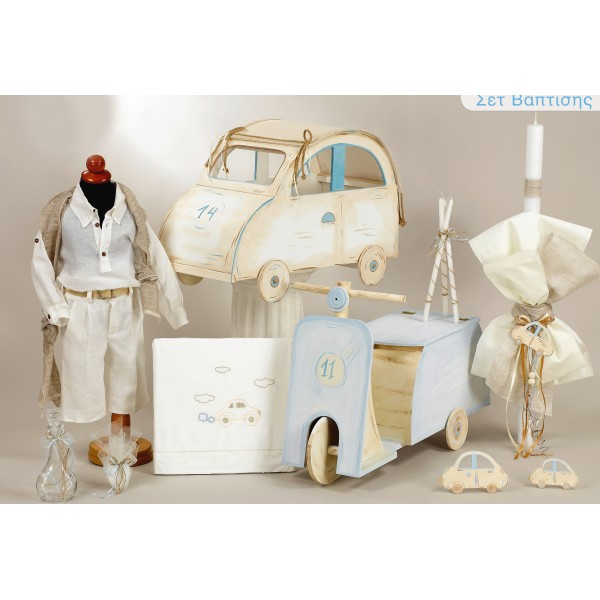 Complete baptism CAR SCOOTER set BABY BOY Orthodox christening