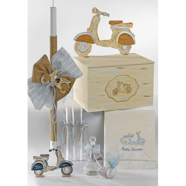 Complete baptism SCOOTER set BABY BOY Orthodox church christening