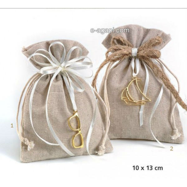 Baptism favors for boys and girls Rustic Greek baptism burlap pouch