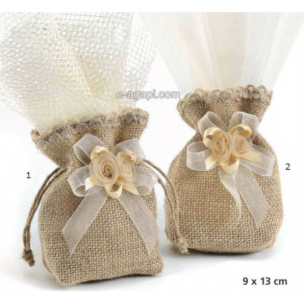 Baptism favors for boys and girls Autumn baby shower greek burlap pouch favors