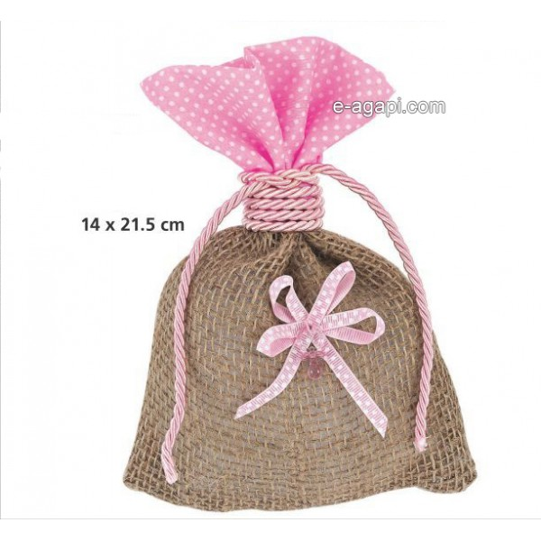 Baptism favors for girls Rustic baby shower burlap pouch favors