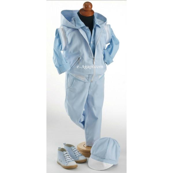 Costumas rafinat 6 piese albastru deschis SET TRUSOU BOTEZ BAIETEL