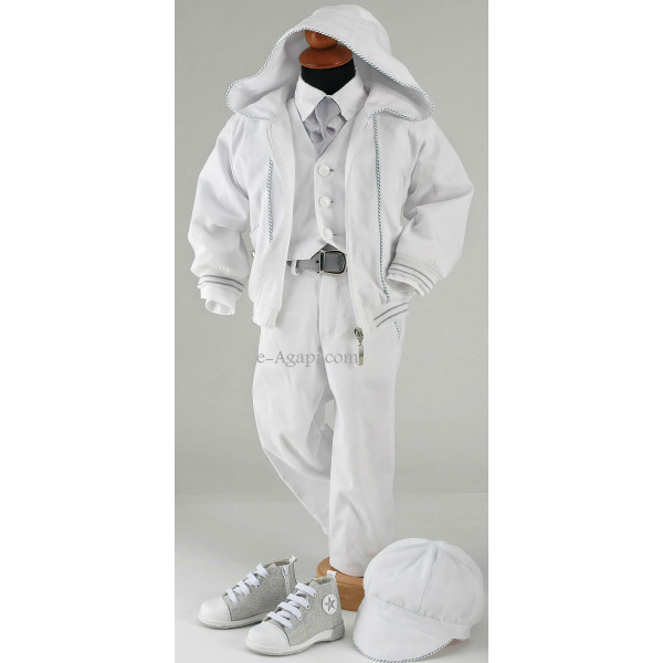 Costumas 6 piese gri alb elegant SET TRUSOU BOTEZ BAIETEL