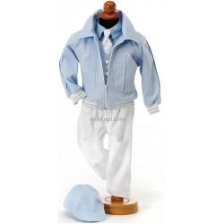 Costumas 6 piese albastru deschis alb SET TRUSOU BOTEZ BAIETEL