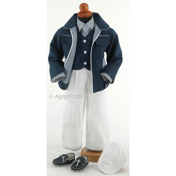 Costumas 6 piese bleumarin alb cu dungulite SET TRUSOU BOTEZ BAIETEL