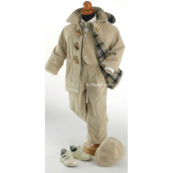 Costumas iarna cu palton montgomery scurt  6 piese SET TRUSOU BOTEZ BAIETEL