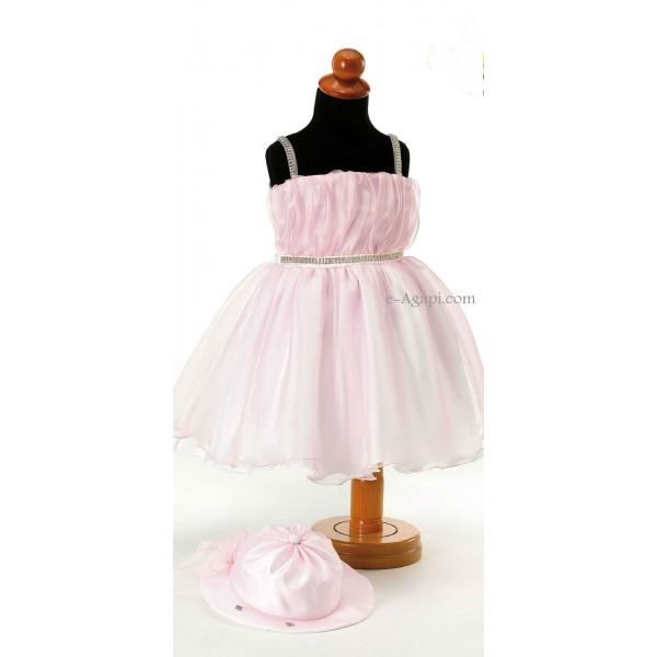 Rochita eleganta muselina roz  SET TRUSOU BOTEZ FETITE