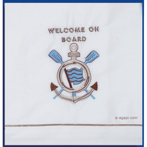 Ladopana towel set Baptismal baby boy ANCHOR Personalized marine navy theme - 6 pieces