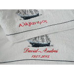 Ladopana baby boy baptism orthodox towel set BOAT Personalized - 6 pieces