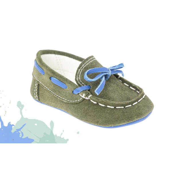 Baby boy shoes - Leather - Toddler mooccasins - size 4-9 US - EU 19-25 - Olive Blue