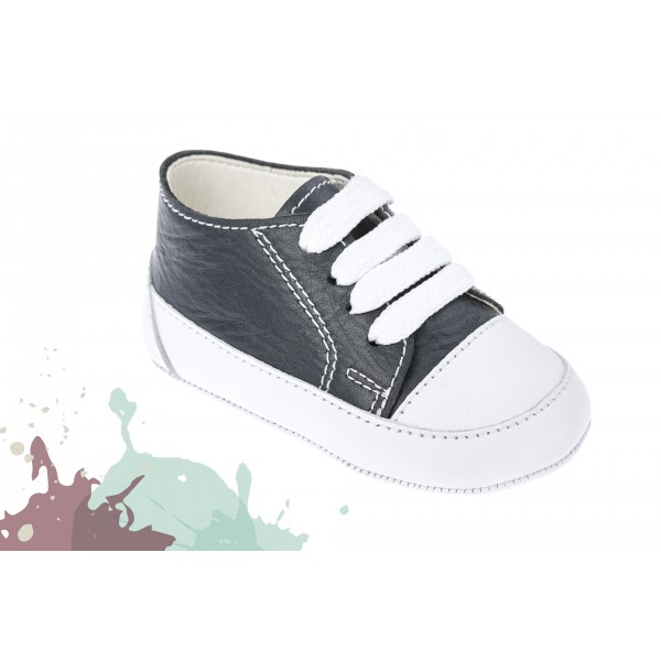 Baby boy shoes - Leather - Toddler sneakers - size 4-9 US - EU 19-25 - Navy blue color