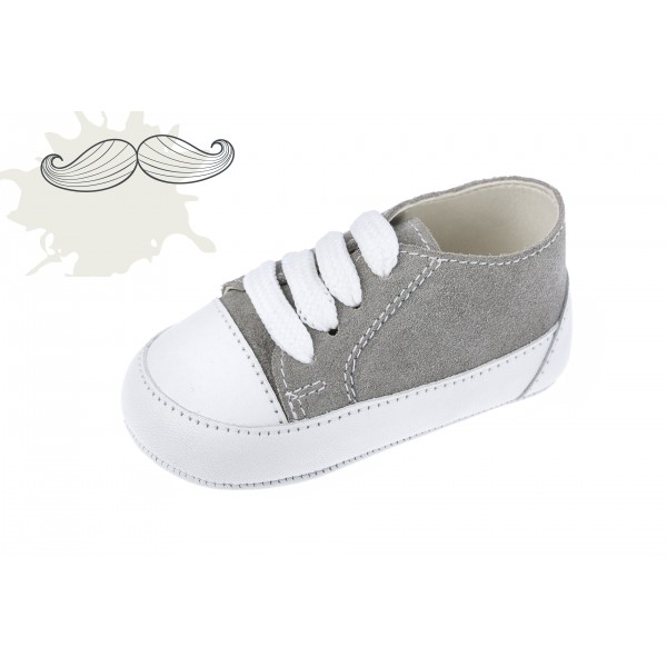 Baby boy shoes Leather shoes crib sneakers Grey