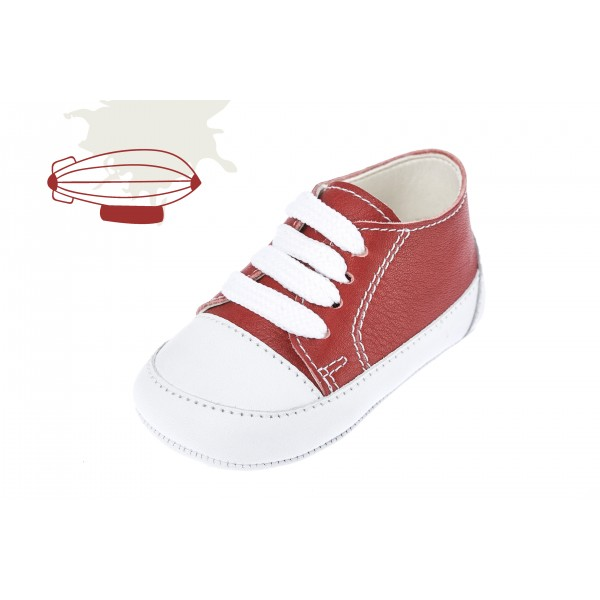 Baby boy shoes Leather shoes crib sneakers Red color