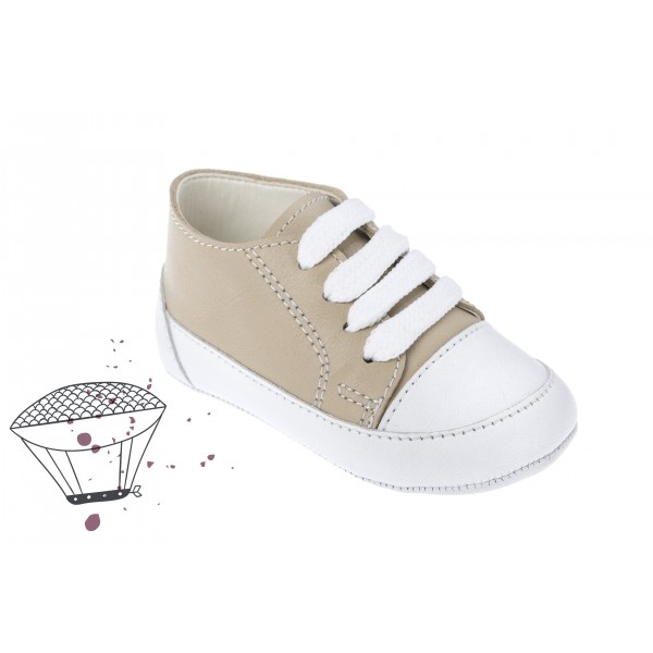 Baby boy shoes - Leather - Toddler Sneakers - size 4-9 US - EU 19-25 - Beige