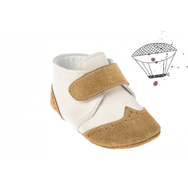 Baby boy shoes crib shoes Toddler leather shoes White Brown baptism shoes