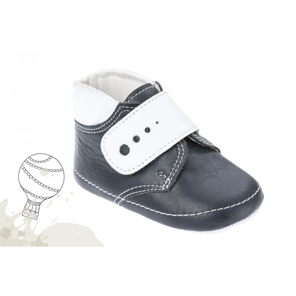 Baby boy shoes crib shoes Toddler leather shoes Navy blue  White baptism shoes