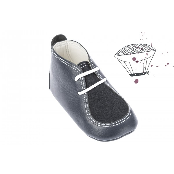 Baby boy shoes crib shoes Toddler leather shoes Navy blue baptism shoes
