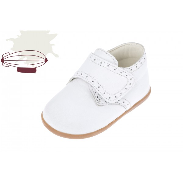 Baby boy shoes velcro shoes Toddler leather shoes White baptism shoes