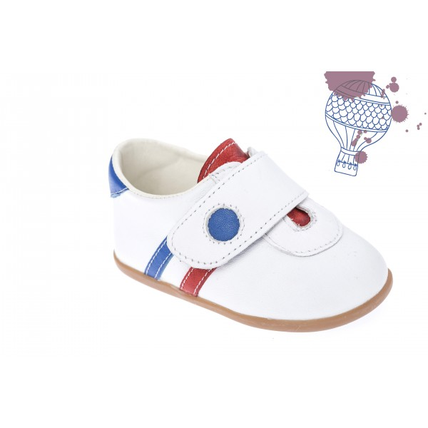 Baby boy shoes velcro shoes Toddler leather shoes White blue red baptism shoes