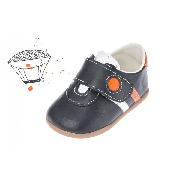 Baby boy shoes velcro shoes Toddler leather shoes Black orange white baptism shoes
