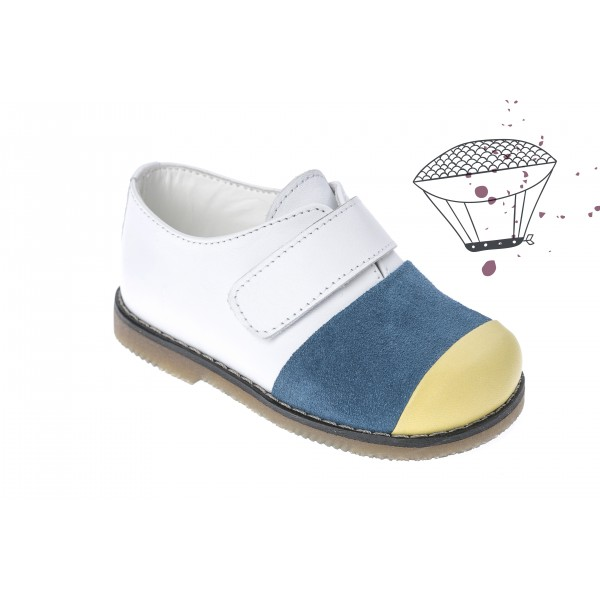 Baby boy shoes velcro shoes Toddler leather shoes White blue yellow baptism shoes