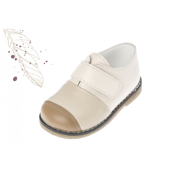 Baby boy shoes velcro shoes Toddler leather shoes Ecru color baptism shoes
