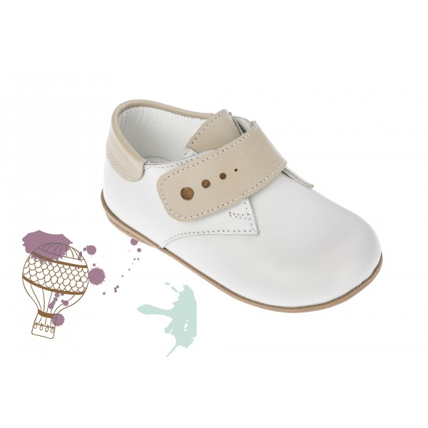Baby boy shoes velcro shoes Toddler leather shoes White ecru detail baptism shoes