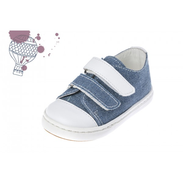 Baby boy shoes Velcro shoes Toddler leather shoes Denim blue white baptism shoes