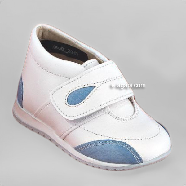 Baby boy shoes  - Toddler leather shoes - size 4-9 US - EU 19-25 - White Blue