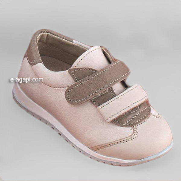 Baby boy shoes  - Toddler leather velcro shoes - size 4-9 US - EU 19-25 - Ecru
