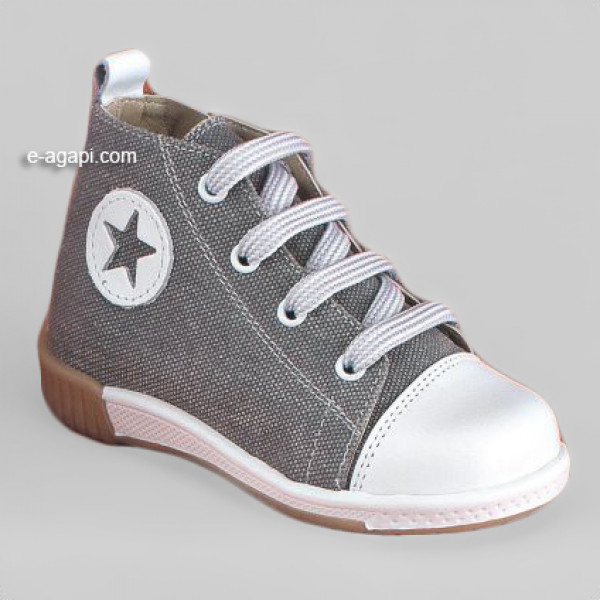 Baby boy shoes  - Sneakers - Toddler first steps shoes - size 4-9 US - EU 19-25 - Grey color