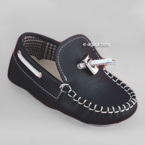 Baby boy shoes  -  Moccasins - Toddler leather shoes - size 4-9 US - EU 19-25 - Navy Blue