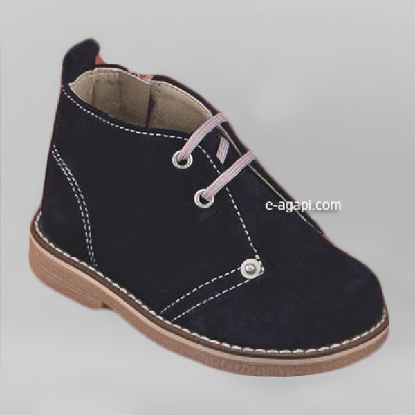 Baby boy shoes  - Toddler leather bootie shoes - size 4-9 US - EU 19-25 - Navy blue