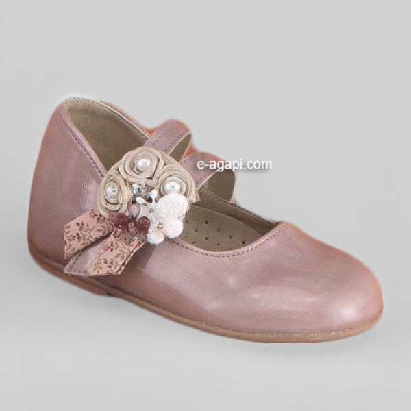 Baby girl shoes Elegant shoes Leather shoes baptism Vintage pink