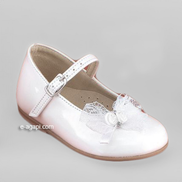 Baby girl shoes Lace shoes Leather baptism shoes White