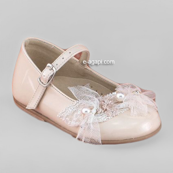 Baby girl shoes Pearls Baptism leather shoes Ecru