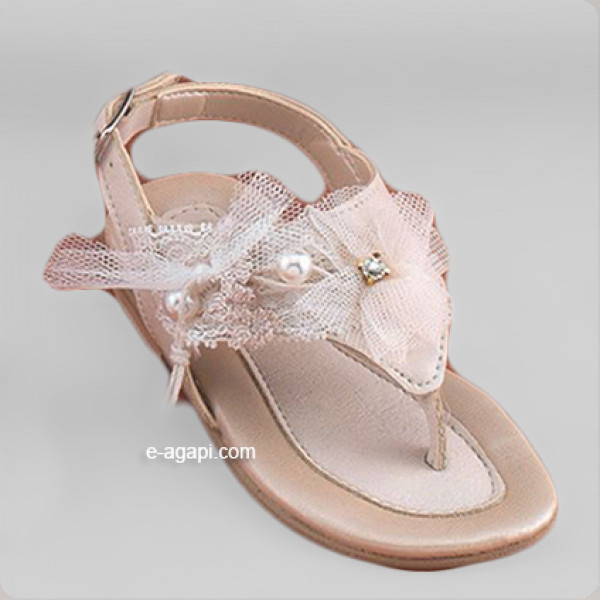 Baby girl sandals Baptism leather sandals Ecru unique sandals pearls bow
