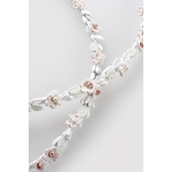 Stephana Greece wedding crowns set Bride hair accessories porcelain floral