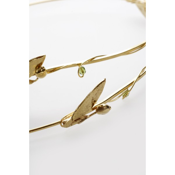 Stephana Greece wedding crowns set Bride hair accessories 24k gold plated