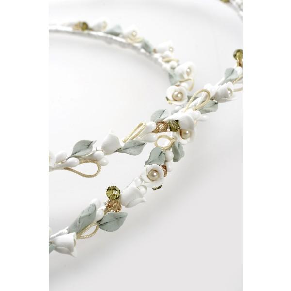 Stephana Greece wedding crowns set Bride hair accessories porcelain floral pearl