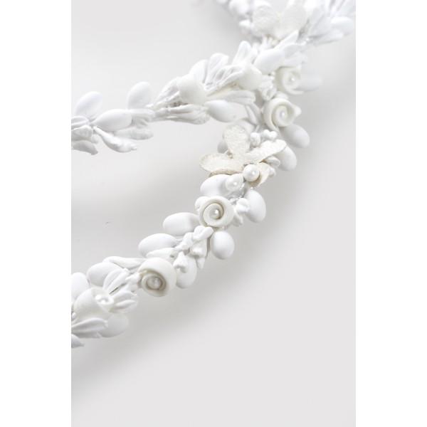 Stefana Greek wedding crowns set Bridal orthodox church Couple accessories Floral Porcelain