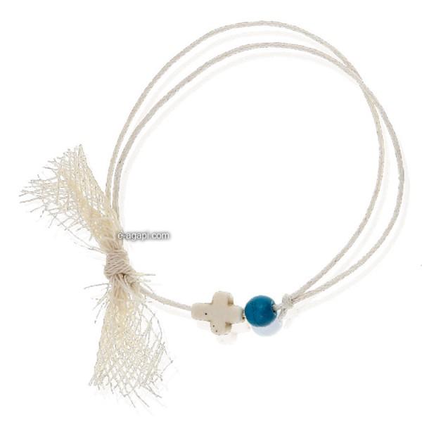 Baptism favors Greek martyrika cross witness bracelets for boys with blue bead