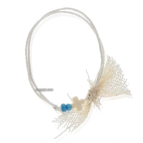 Baptism favors Greek martyrika cross witness bracelets for boys with two blue beads