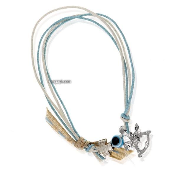 Baptism favors Greek martyrika cross witness bracelets for boys evil eye silver horse