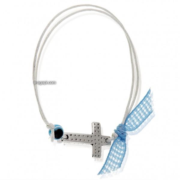 Baptism favors Greek martyrika cross witness bracelets for boys with evil eye
